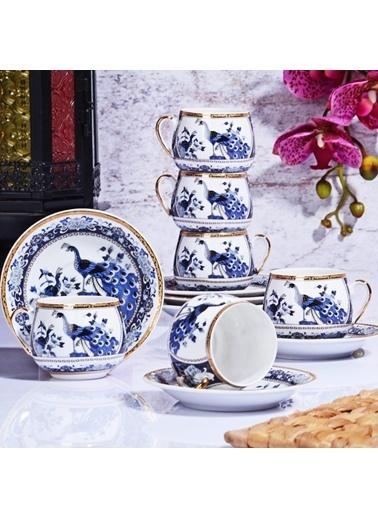 Kitchen World Kitchen World GSA-54 Porselen 6lı Tombul Fincan Takımı Mavi Mavi